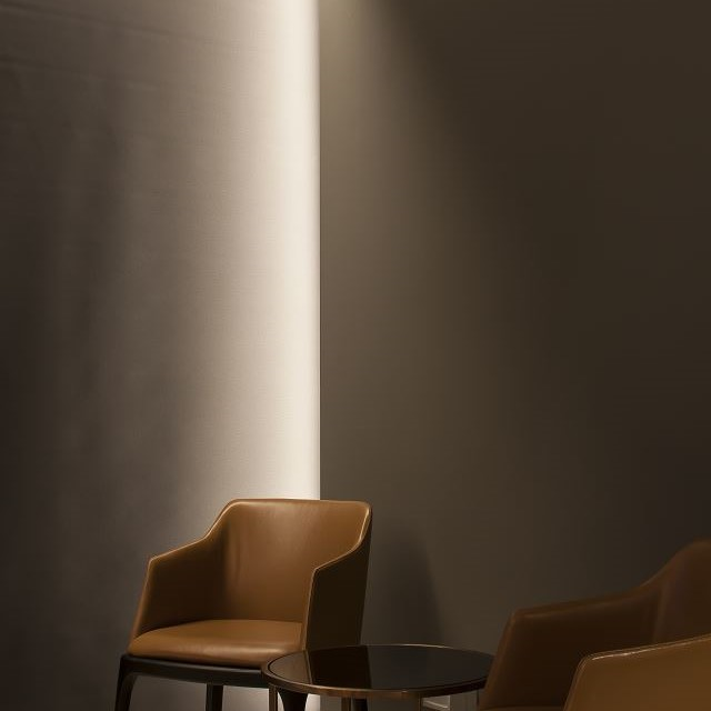 penthouse feature wall bathed in light